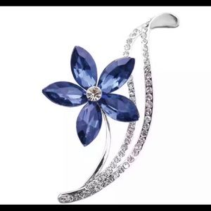 Sapphire Blue Crystal and Silver Flower Brooch